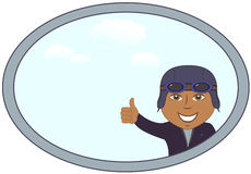 Afro american pilot in frame with sky Royalty Free Stock Image