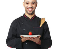 Afro American professional cook holding plate - isolated on whit Royalty Free Stock Images