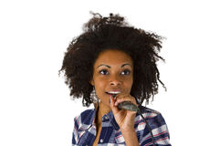 Afro american singer. Isolated on white background Stock Photos