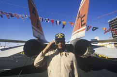 Afro-American Soldier Saluting Royalty Free Stock Image