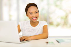 Afro american student laptop Stock Images