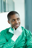 Afro-American surgeon thinking in a hospital Stock Photo