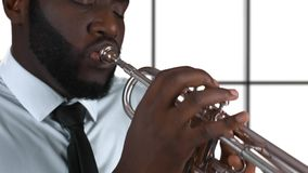 Afro-american trumpet player. stock video