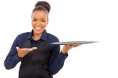 Afro american waitress Royalty Free Stock Images