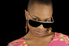 Afro American Woman. Beautiful Image of a Afro American Woman with Glasses Royalty Free Stock Images