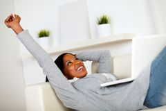 Afro-american woman browsing the Internet Stock Photography
