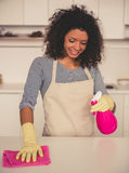 Afro American woman cleaning Royalty Free Stock Photography
