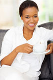 Afro american woman coffee Royalty Free Stock Images