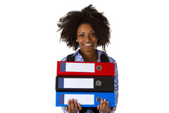 Afro american woman with folders. Isolated on white background Royalty Free Stock Photo