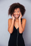 Afro american woman with headphones Stock Photography