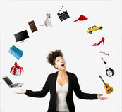 Afro-American woman juggling objects Royalty Free Stock Image