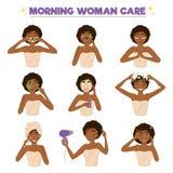 Afro American Woman Morning Routine Icon Set Stock Photo