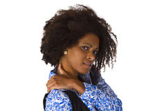 Afro american woman with shoulder pain Royalty Free Stock Photos