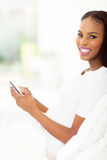 Afro american woman smart phone Stock Images