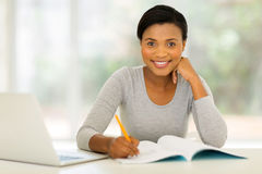 afro american woman studying Stock Photo