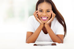 Afro american woman tablet pc Stock Photos