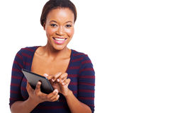Afro american woman tablet Stock Photography