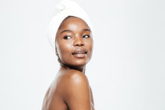 Afro american woman with towel on head Stock Photos