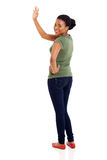 Afro american woman waving Royalty Free Stock Image