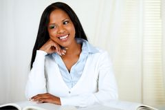 Afro-american young black girl studying Stock Photography
