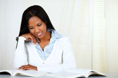 Afro-american young black woman learning Stock Photo