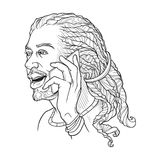 Afro-American young man with dreadlocks speaking on the phone and smiling. Black and white linear sketch isolated n. White background. EPS10 vector illustration Royalty Free Stock Photo
