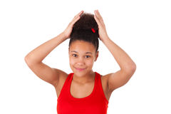 Afro-American young woman with afro hair Royalty Free Stock Photos