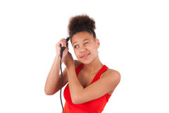 Afro-American young woman with afro hair Stock Photo