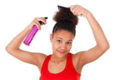 Afro-American young woman with afro hair Stock Photos