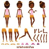Afro american young woman character creation set, girl with various views, hairstyles, shoes, poses and gestures. Cartoon vector Illustrations isolated on a Royalty Free Stock Photos
