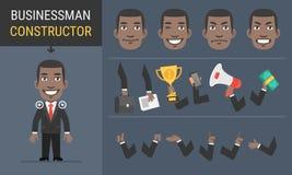 Afro-americano do homem de negócios do caráter do construtor ilustração royalty free