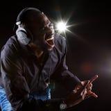 Afro-americano novo DJ foto de stock