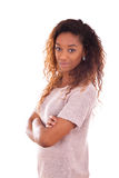 Afro-americano novo feliz isolado no fundo branco - Blac Fotografia de Stock