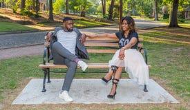 Afro-americano ou mulher negra bonita e filho considerável Fotografia de Stock Royalty Free