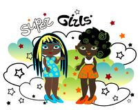 Afro-Americans. Girls in bright clothes talking Stock Images