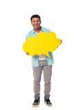 Afro Amerikaan met toespraakbel Stock Fotografie