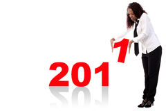 Afro Amerikaan met woord 2011 Stock Fotografie