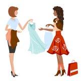 Afro-Amerikaanse meisje het kopen kleding royalty-vrije illustratie