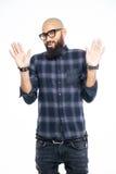 Afro Amerikaanse mens die eindeteken met palmen tonen Royalty-vrije Stock Foto's