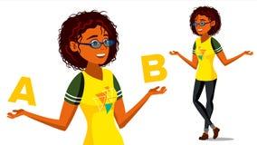Afro Amerikaanse Vrouw die A vergelijken met B-Vector Evenwicht van Mening en Emoties Cliëntkeus Vergelijk Voorwerpen, Manieren,  Royalty-vrije Stock Foto
