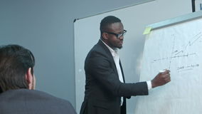 Afro-Amerikaanse zakenman die presentatie van een businessplan maken op flipchart stock footage