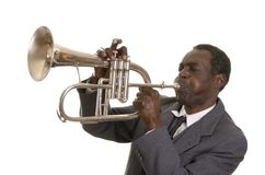 Afro--amerikan Jazz Musician med Flugelhorn Royaltyfri Fotografi