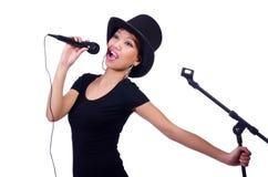 Afro--amerikan kvinnlig sångare Fotografering för Bildbyråer