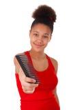 Afro--Amerikan ung kvinna med afro hår Fotografering för Bildbyråer
