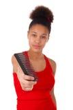 Afro--Amerikan ung kvinna med afro hår Royaltyfri Fotografi