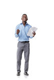 Afro- amerikansk affärsman som skriker med lycka arkivbild