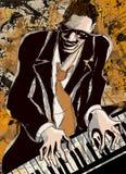 Afro- amerikansk jazzpianist Royaltyfria Bilder