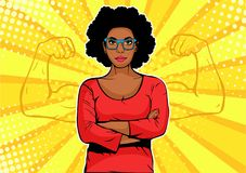 Afro amerykański bizneswoman z mięśnia wystrzału sztuki retro stylem Silny biznesmen w komiczka stylu royalty ilustracja