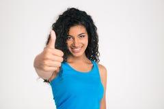 Afro amerykańska kobieta pokazuje kciuk up Fotografia Stock