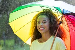 Afro amerykańska kobieta z parasolem Obraz Royalty Free